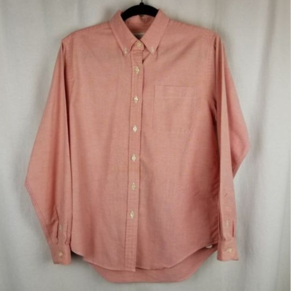 Lands End womens pink button down top